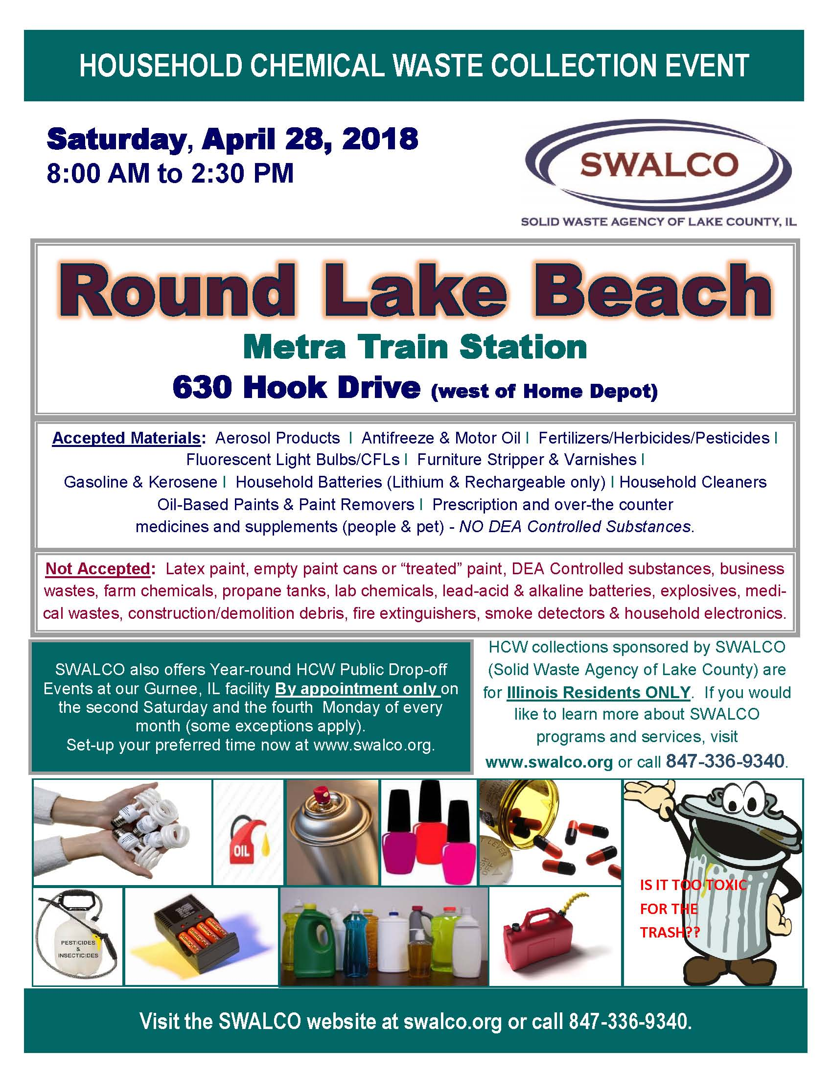 SWALCO Household chemical waste collection event 8 00AM – 2 30PM